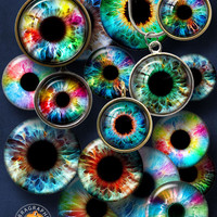 Rainbow Eyes Digital Collage Sheets 20mm, 18mm, 16mm, 14mm, 12mm,10mm  circles printable downloads for jewelry, doll making, crafts CG-917
