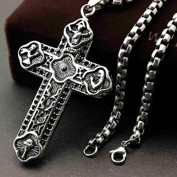 Stainless Steel Medieval Cross Pendant Necklace
