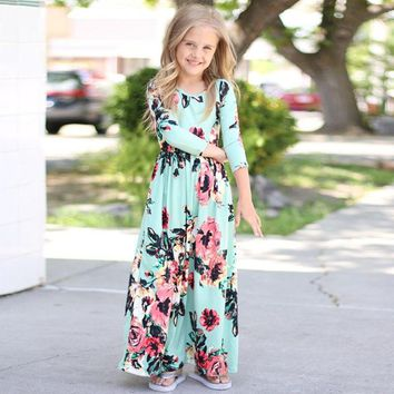 Bohemian Print Long Girls Dresses Floral Flowers Cotton 2018 Spring Party Dress Fashion Children Clothing Outwear Dress for Girl