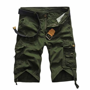 2017 European and American style men's fashion tops shorts men cotton camo and solid 6 color casual clothes Shorts size 29-38