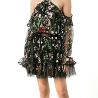 Black Embroidery Floral Off Shoulder Ruffle Sheer Mesh Dress