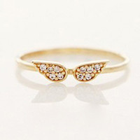 Gold Diamond Wing Ring - Sheinside.com