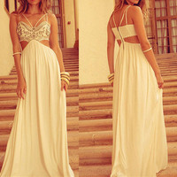 Strappy White Prom Maxi Dress -03121