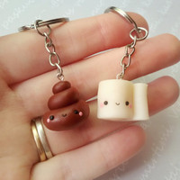 Poop and toilet paper friendship necklace, best friend keychain, best friend necklace, kawaii necklace, friendship keychain, bff necklace