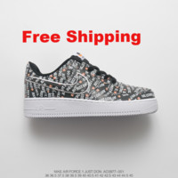 """[ Free  Shipping ]Nike Air Force 1 AF1 """"Just do it"""" Black Running Sneaker"""