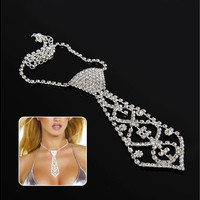 Elegant Fashion Glitter Crystal Rhinestone Tie Shaped Necklace for Prom Party [8833663948]