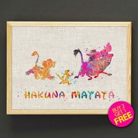 Hakuna Matata Watercolor Art Print Disney Lion King Poster House Wear Wall Decor Gift Linen Print - Buy 2 Get FREE - 15s2g
