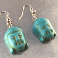 Buddha Earrings, Turquoise Earrings, Spiritual Buddha Earrings