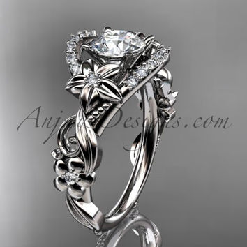 Flower with Leaves Nature Inspired Unique Diamond Engagement Ring - 14K White Gold