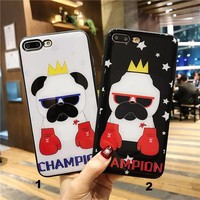 Boxing champion puppy Glass texture mobile phone case for iPhone X 7 7plus 8 8plus iPhone6 6s plus -171212