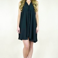 Sleeveless Button Up Trapeze Dress