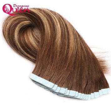 LMF78W #4/27/4 Color Tape In Human Hair Extensions Brazilian Straight Hair 50g 20pcs/Set Skin Weft Remy Hair Dreaming Queen Hair
