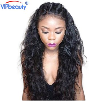 Vip beauty 180% density Brazilian wavy remy hair lace front human hair wigs pre plucked wig with baby hair 1b