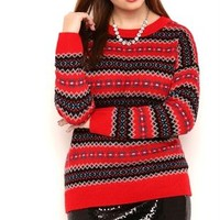 Plus Size Long Sleeve Fair Isle Sweater with Drop Shoulder Design