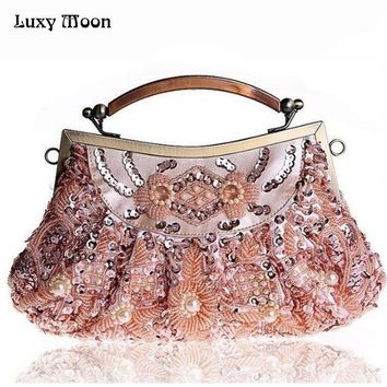 100% embroidery clutch bags fashion 2016 evening bag totes luxury beaded bridal purse wedding bags chains handbags shoulder bag