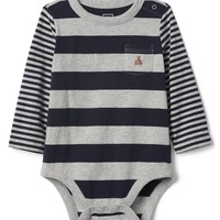Mix-stripe long sleeve bodysuit|gap