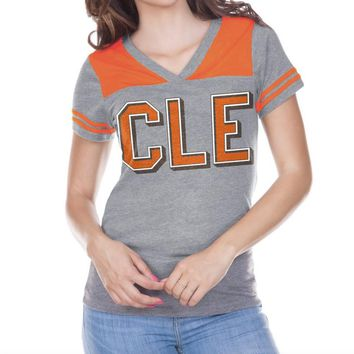 CLE Gridiron Mesh - Women Jersey Vneck Football Tshirt