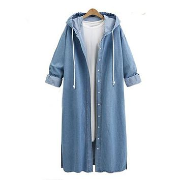 Women Hooded Buttons Long Sleeve Denim Jean Casual Loose Coat Jacket Cardigans