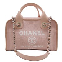 Auth Chanel Light Pink Canvas Deauville Bowling Bag Shoulder Bag A92750 /DH42556