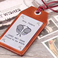Personalized Leather Luggage Tag - Custom Leather Tag - Handmade Travel Tennis Tag - Graduation Gfit - Anniversary Gift - Christams Gift