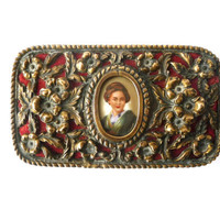 Awesome Vintage Jewelry Box - Antique Metal Trinket Box