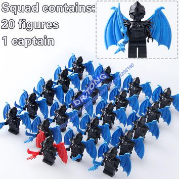 21pcs/LOT Medieval Castle Knights Dragon Knights The Lord of the Rings Figures with Armor Building Blocks Brick Toys