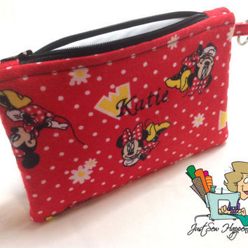 Personalized Makeup Bag / Gadget Bag / Wet Bag Minnie Mouse