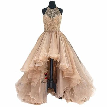 Champagne High Low Prom Dresses Organza Puffy Beads Long Homecoming Cheap Quinceanera Gowns Sparky Vestido de Formatura Longo