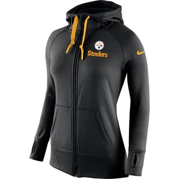 Women's Pittsburgh Steelers Nike Black Warpspeed All Time Full-Zip Performance Hoodie