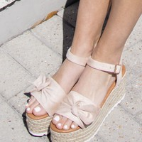 Boca Beach Nude Platform Bow Sandals