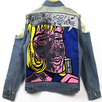 Pop Art Cut Out Shoulder Denim Jacket