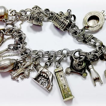 Antique Silver Charm Bracelet Old European 13 Charms Rome Ireland She-Wolf Romulus and Remus Javelina Old Buildings Towers Plus More