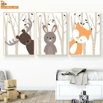 Cartoon Rabbit Fox Bear Forest Wall Art Canvas Painting Nordic Posters And Prints Animal Wall Pictures Baby Kids Room Home Decor