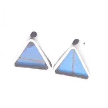 Silver butterfly earrings  - Iridescent Blue Triangle Morpho Didius
