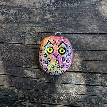 Owl Necklace Pendant Tribal Owl Jewelry Cute small rustic   Rustic Bead Owl Totem Gift Jewelry polymer clay owl jewelry