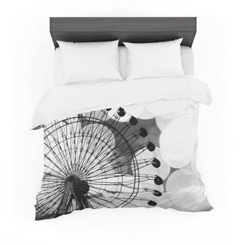 "Sylvia Coomes ""Black And White Ferris Wheel"" Black White Featherweight Duvet Cover"