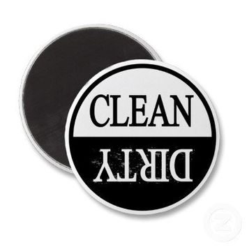 Clean dirty-Black round dishwasher magnet from Zazzle.com