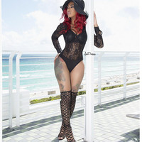 Black Floral Lace Long Sleeve Swimsuits