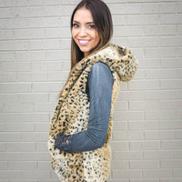 purrrfect faux fur vest - leopard | MACA Boutique