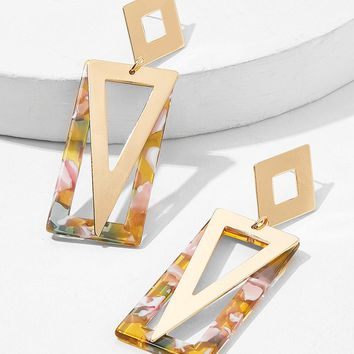 Marble Pattern Rectangle & Triangle Drop Earrings 1pair