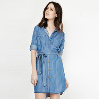 Blue Denim Three-Quarter Sleeve Mini Dress with Pocket