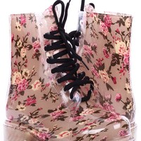 CREAM BEIGE FLORAL PRINT LACE UP JELLY COMBAT RAIN BOOTS