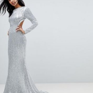 Club L Long Sleeve Sequin Backless Maxi Dress at asos.com