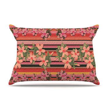 "Nina May ""Peach Hibiscus Stripe"" Pink Orange Pillow Case"