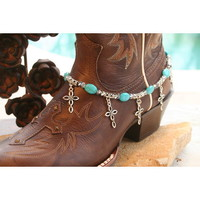 Boot Candy Boot Candy Turquoise Ovals with Oval Design Crosses