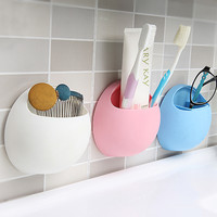 1pcs Toothbrush Holder Suction Cup Organizer Bathroom Kitchen Storage Tool Storage Box for Home Decor 11 * 10.5 * 5cm 4 Colors