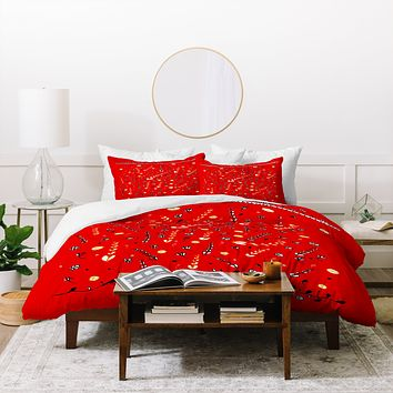 Julia Da Rocha Pretty Red Duvet Cover
