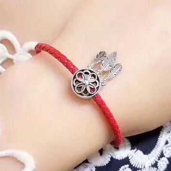 Pandora High Quality New Fashion Leather Rope Feather Tassel Personality Bracelet Red