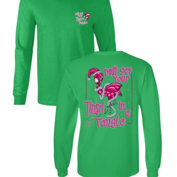 Sassy Frass Don't Get Your Tinsel in a Tangle Christmas Flamingo Tropical Long Sleeve Bright Girlie T Shirt