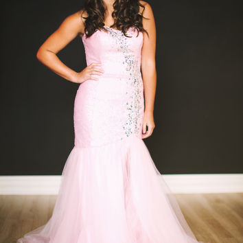 Strapless Sequin Mermaid Dress with Tulle Skirt